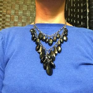 ONYX COLORED FAUX CRYSTAL NECKLACE